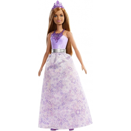 POUPEE BARBIE DREAMTOPIA chatain robe mauve