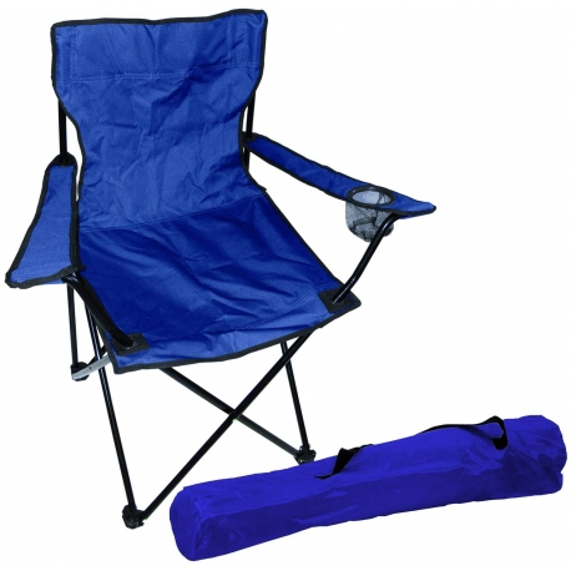 Chaise de pêcheur Chaise de camping pliable avec porte-gobelet et sac Bleu