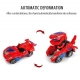 Voiture transformers en dinosaure rouge