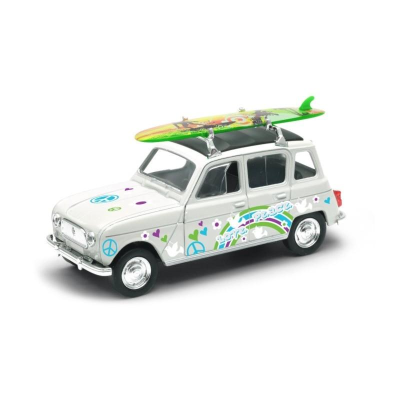 Voiture miniature 4L Blanche avec surf  1/40
