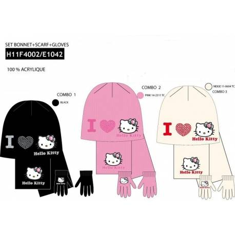 SET BONNET GANTS ECHARPE HELLO KITTY