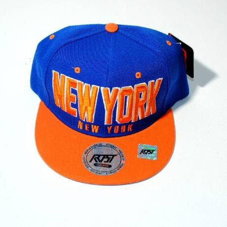 CASQUETTE NEW YORK orange et bleu