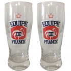 SET DE 2 VERRES A BIERE EQUIPE DE FRANCE DE FOOTBALL