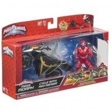 Figurine Power Rangers avec véhicule Mega Morph Ninja Steel rouge